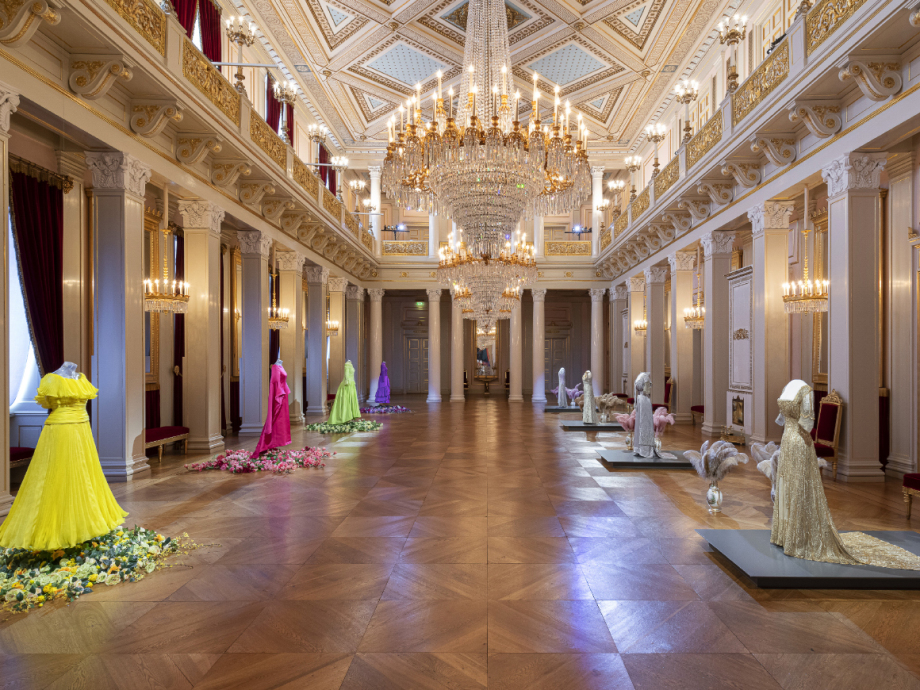 Gala dresses belonging to Queen Sonja and Queen Maud are on display in the Ballroom. Photo: Øivind Möller Bakken, The Royal Court