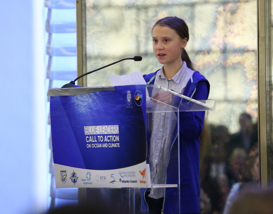 Greta Thunberg taler under arrangementet